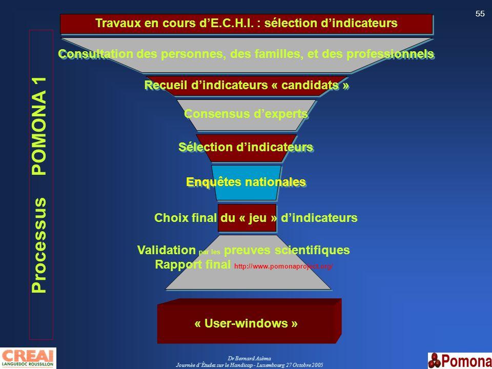 Travaux en cours d'E.C.H.I. : sélection d'indicateurs