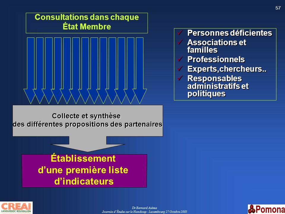 Consultations dans chaque des différentes propositions des partenaires