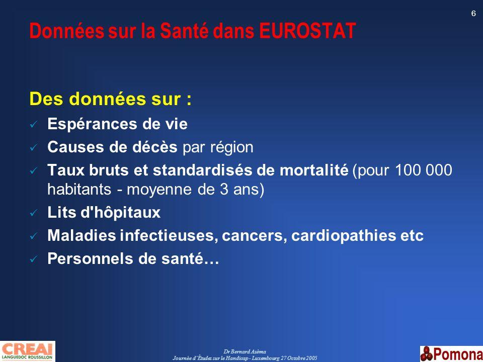 Données sur la Santé dans EUROSTAT