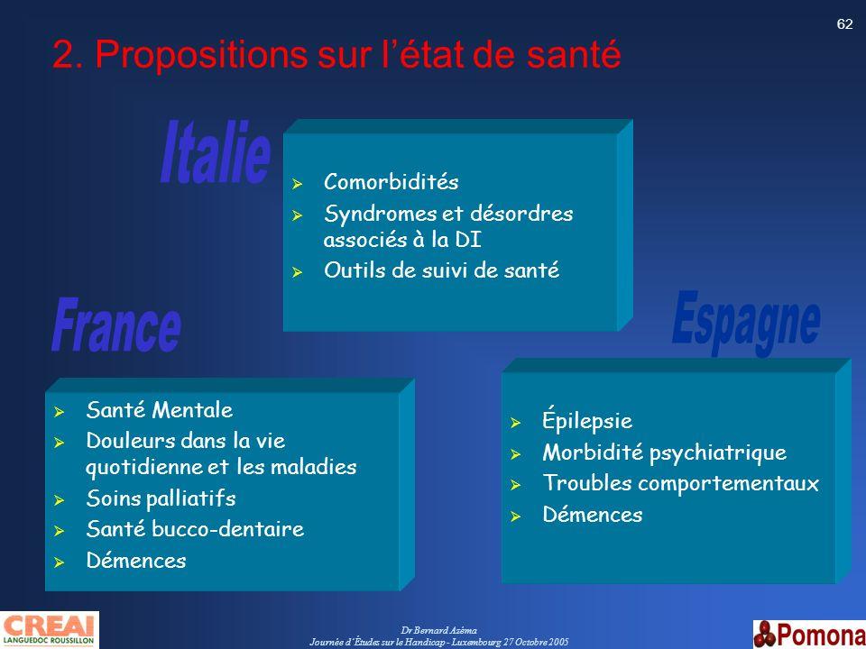 2. Propositions sur l'état de santé