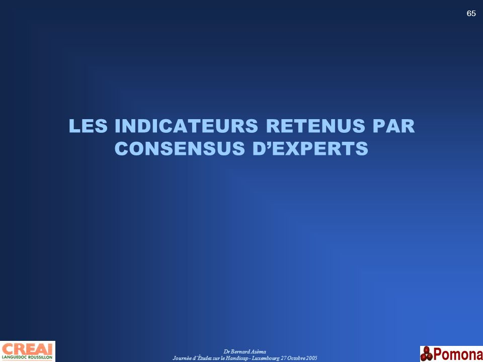 LES INDICATEURS RETENUS PAR CONSENSUS D'EXPERTS