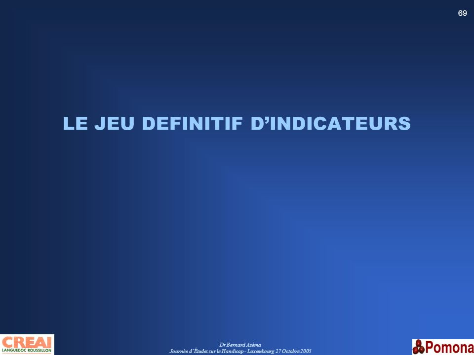 LE JEU DEFINITIF D'INDICATEURS