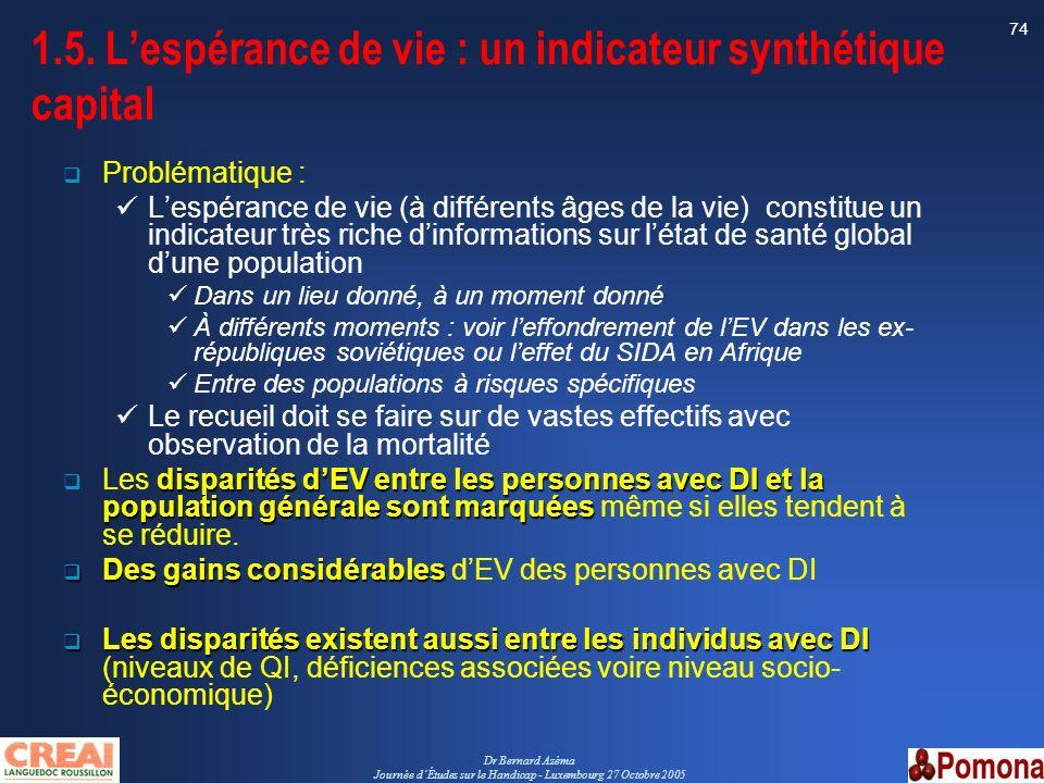 1.5. L'espérance de vie : un indicateur synthétique capital