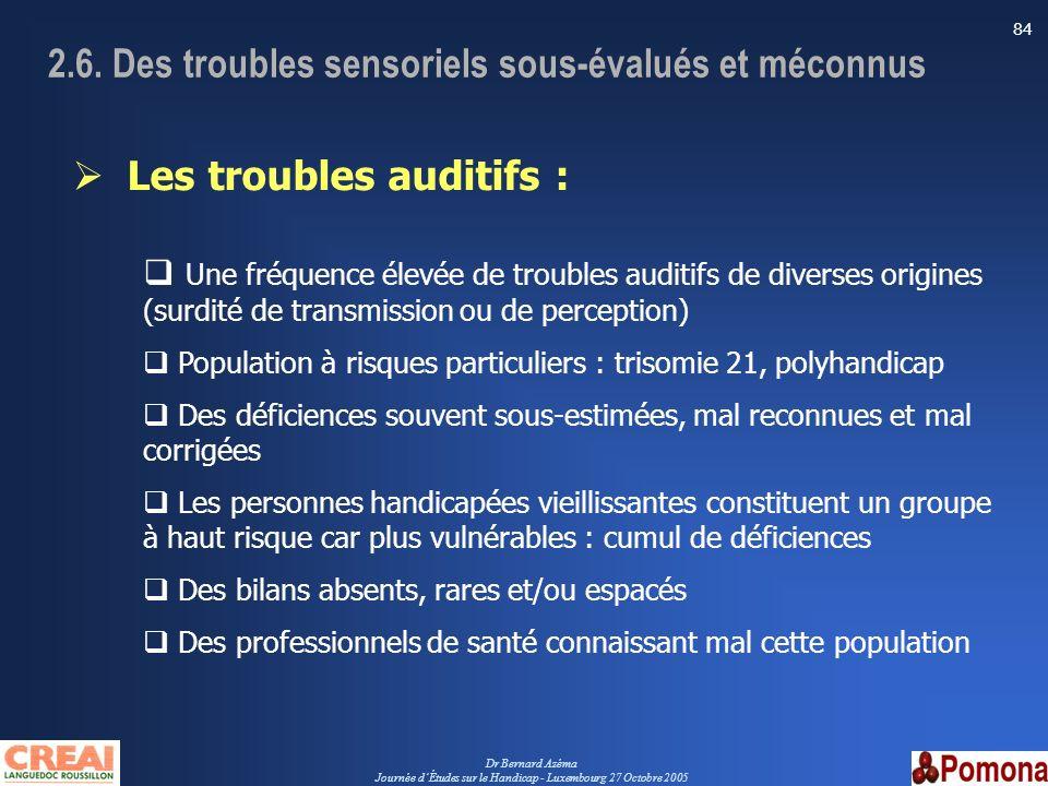2.6. Des troubles sensoriels sous-évalués et méconnus