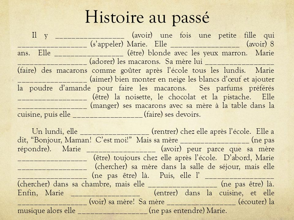 Histoire au passé