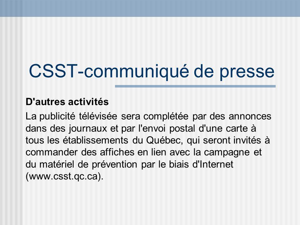 CSST-communiqué de presse