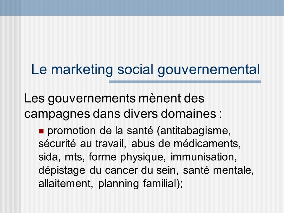 Le marketing social gouvernemental