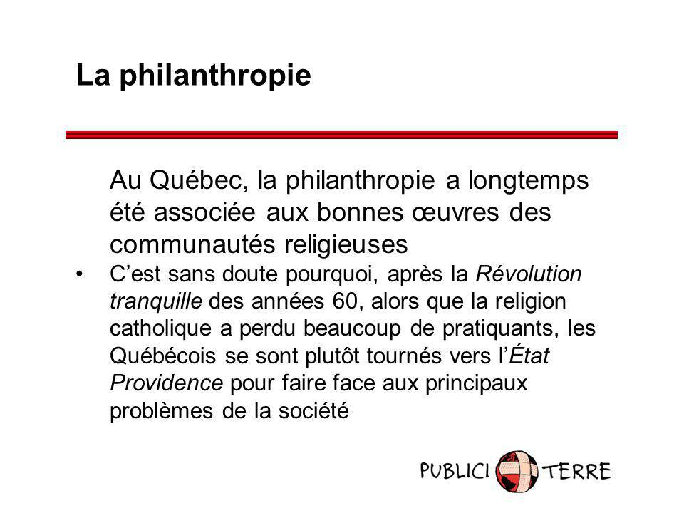 La philanthropie Au Québec, la philanthropie a longtemps été associée aux bonnes œuvres des communautés religieuses.