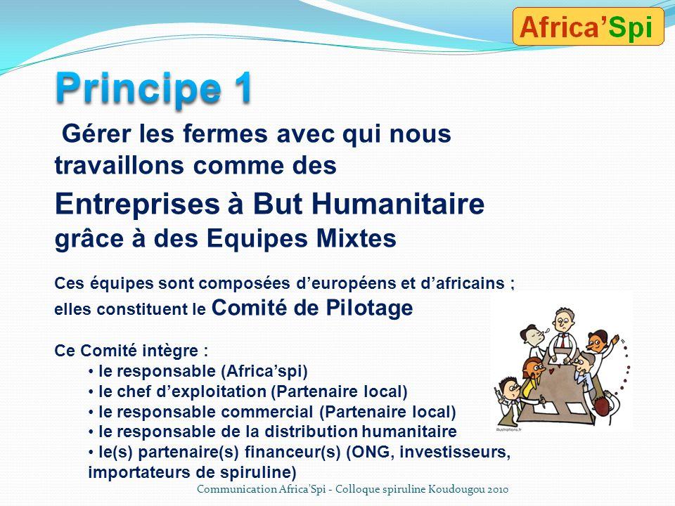 Principe 1 Entreprises à But Humanitaire grâce à des Equipes Mixtes