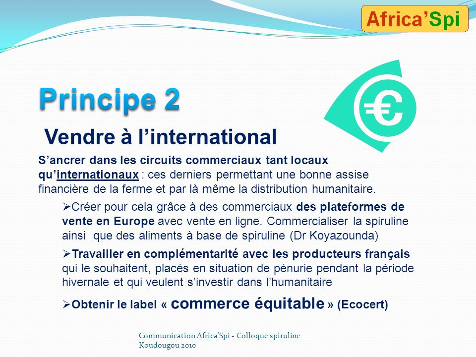 Principe 2 Vendre à l'international