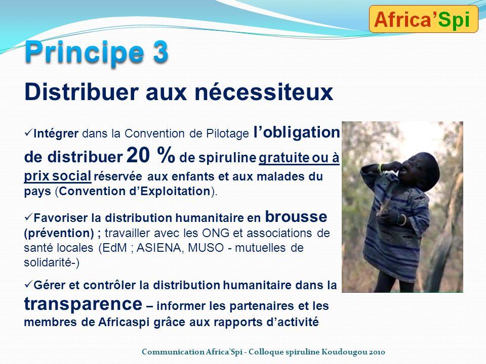 Principe 3 Distribuer aux nécessiteux