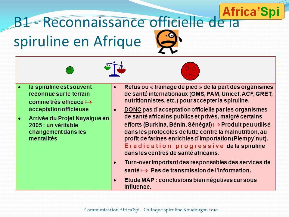 B1 - Reconnaissance officielle de la spiruline en Afrique
