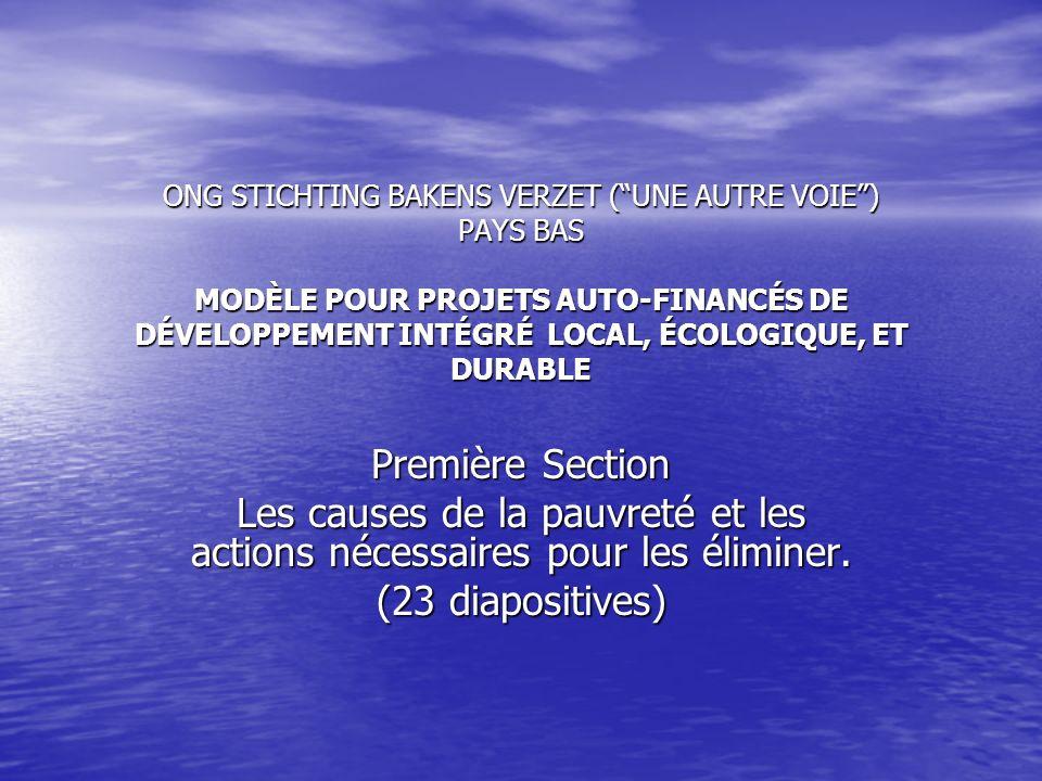 ONG STICHTING BAKENS VERZET ( UNE AUTRE VOIE ) PAYS BAS MODÈLE POUR PROJETS AUTO-FINANCÉS DE DÉVELOPPEMENT INTÉGRÉ LOCAL, ÉCOLOGIQUE, ET DURABLE