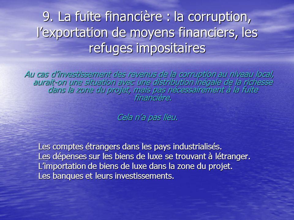 9. La fuite financière : la corruption, l'exportation de moyens financiers, les refuges impositaires