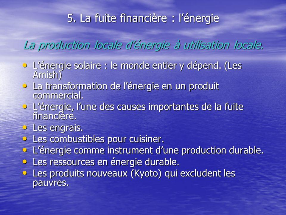 5. La fuite financière : l'énergie La production locale d'énergie à utilisation locale.
