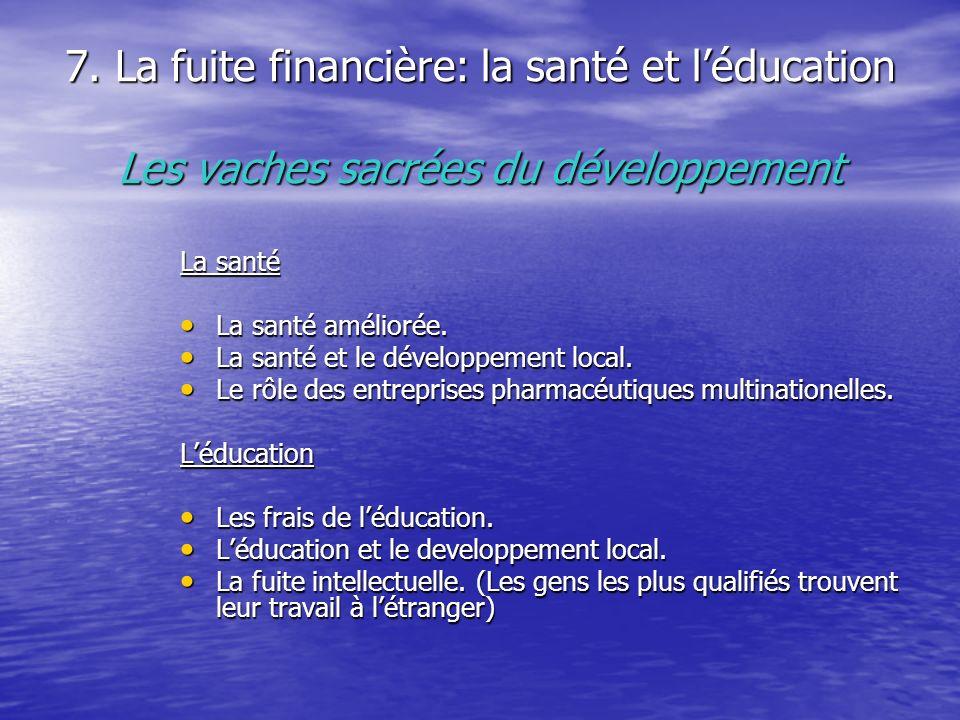 7. La fuite financière: la santé et l'éducation Les vaches sacrées du développement