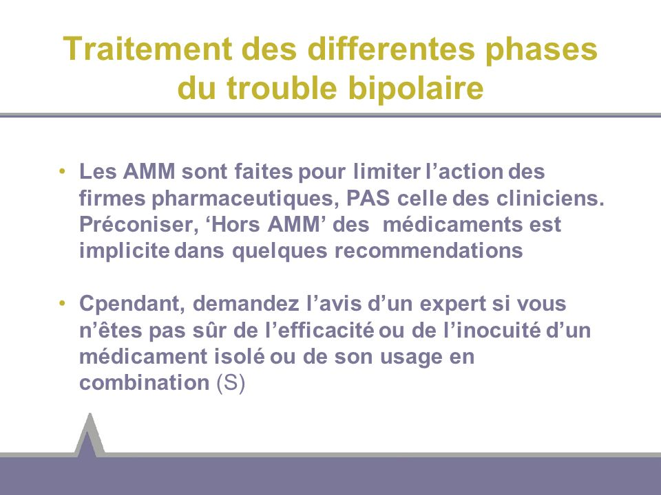 Traitement des differentes phases du trouble bipolaire