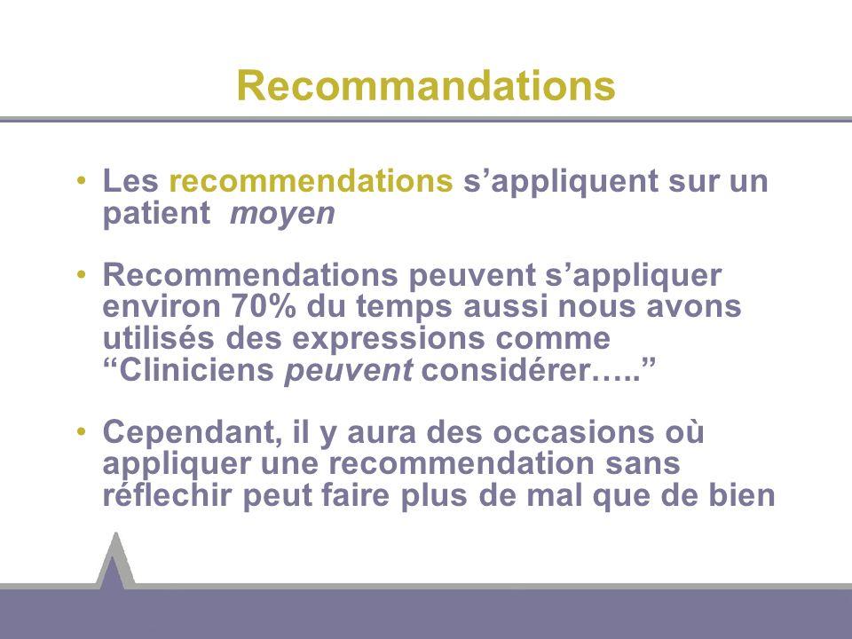 Recommandations Les recommendations s'appliquent sur un patient moyen