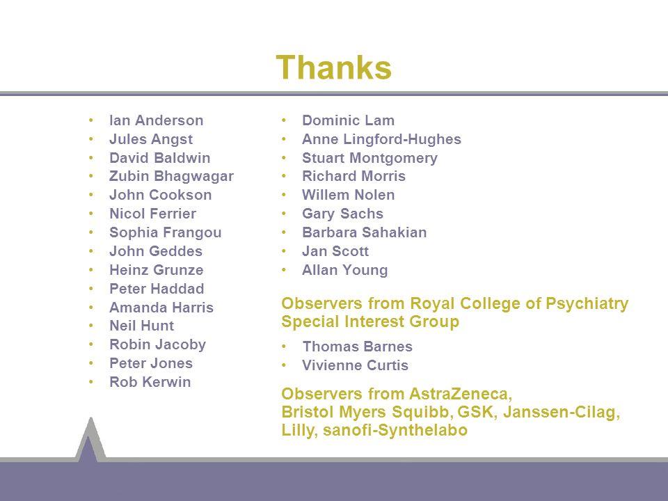 Thanks Ian Anderson. Jules Angst. David Baldwin. Zubin Bhagwagar. John Cookson. Nicol Ferrier.