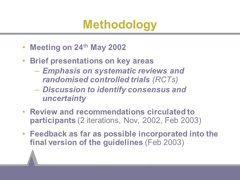 Methodology Meeting on 24th May 2002 Brief presentations on key areas