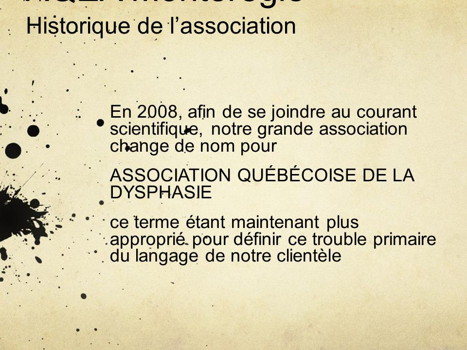 AQEA Montérégie Historique de l'association