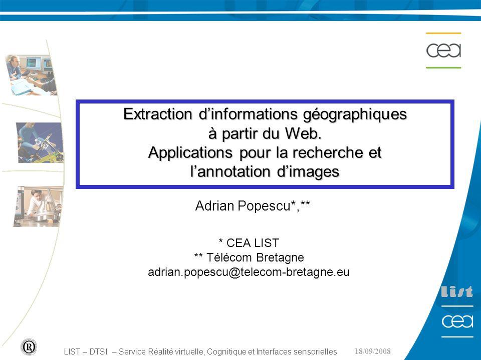 Extraction d'informations géographiques à partir du Web.