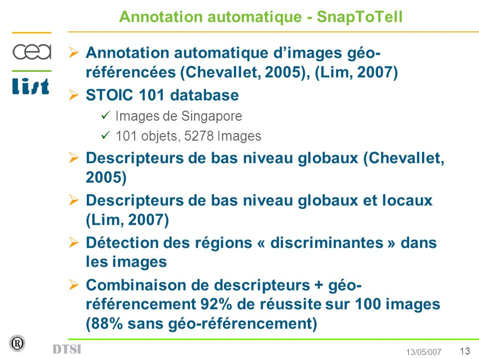 Annotation automatique - SnapToTell