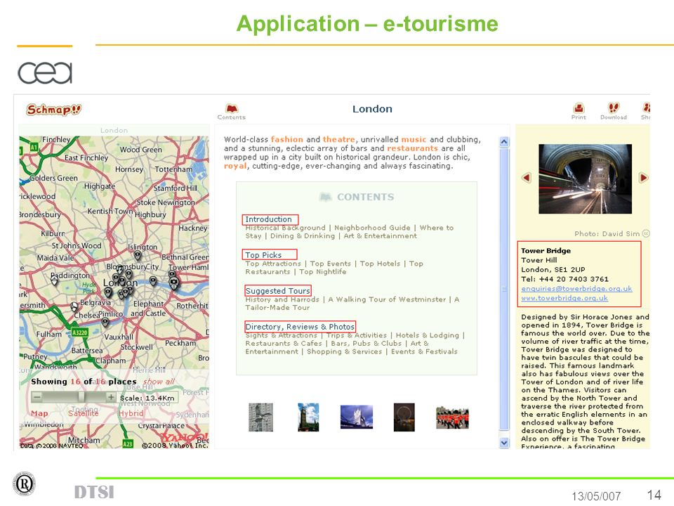 Application – e-tourisme