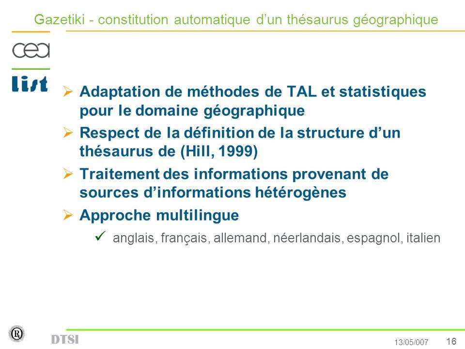Gazetiki - constitution automatique d'un thésaurus géographique