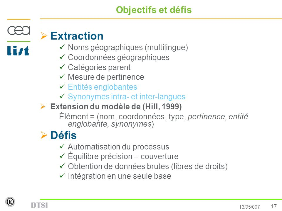 Extraction Défis Objectifs et défis Noms géographiques (multilingue)