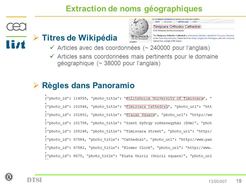 Extraction de noms géographiques
