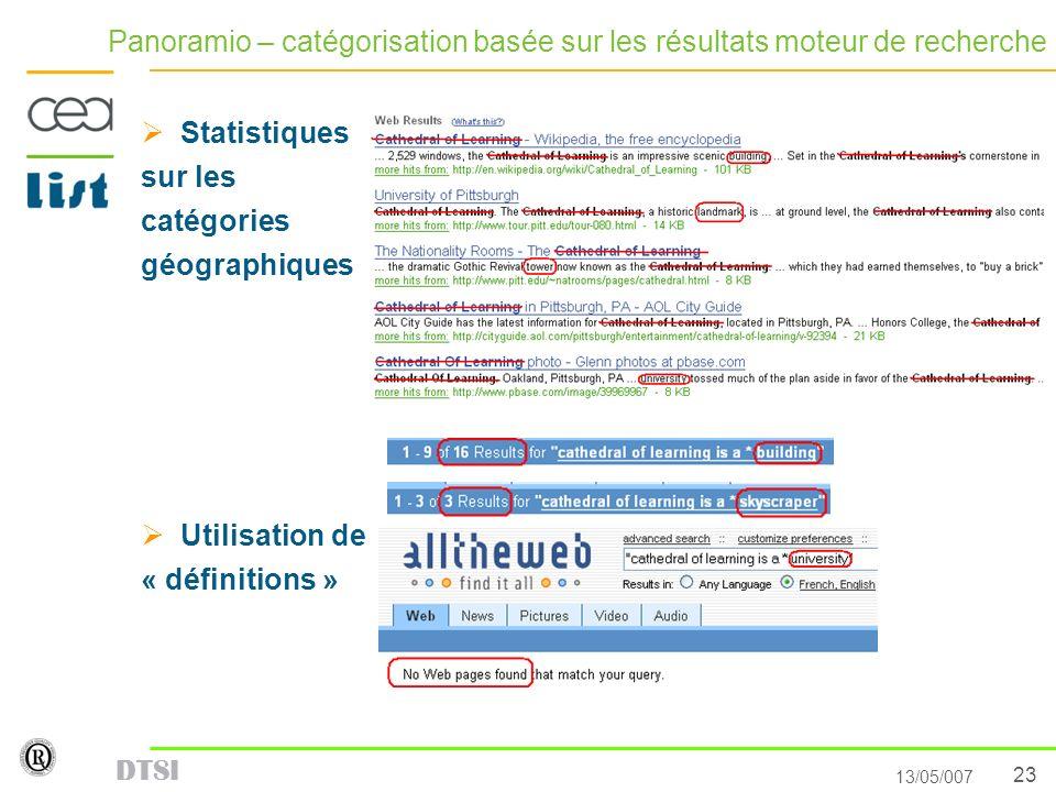 Panoramio – catégorisation basée sur les résultats moteur de recherche