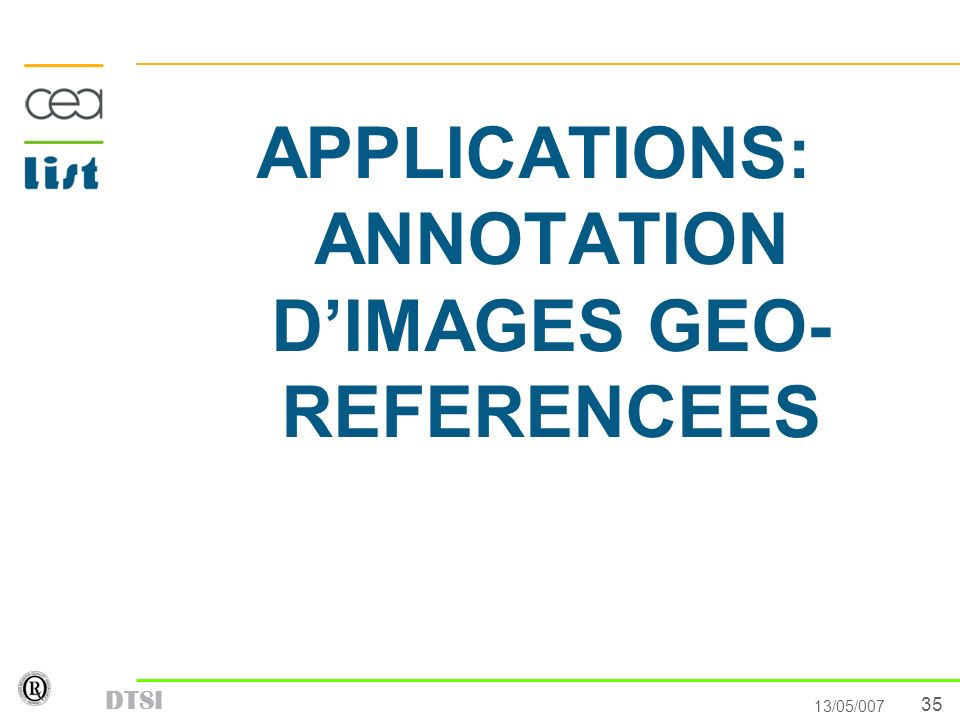 APPLICATIONS: ANNOTATION D'IMAGES GEO- REFERENCEES
