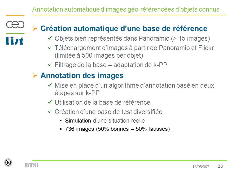 Annotation automatique d'images géo-référencées d'objets connus