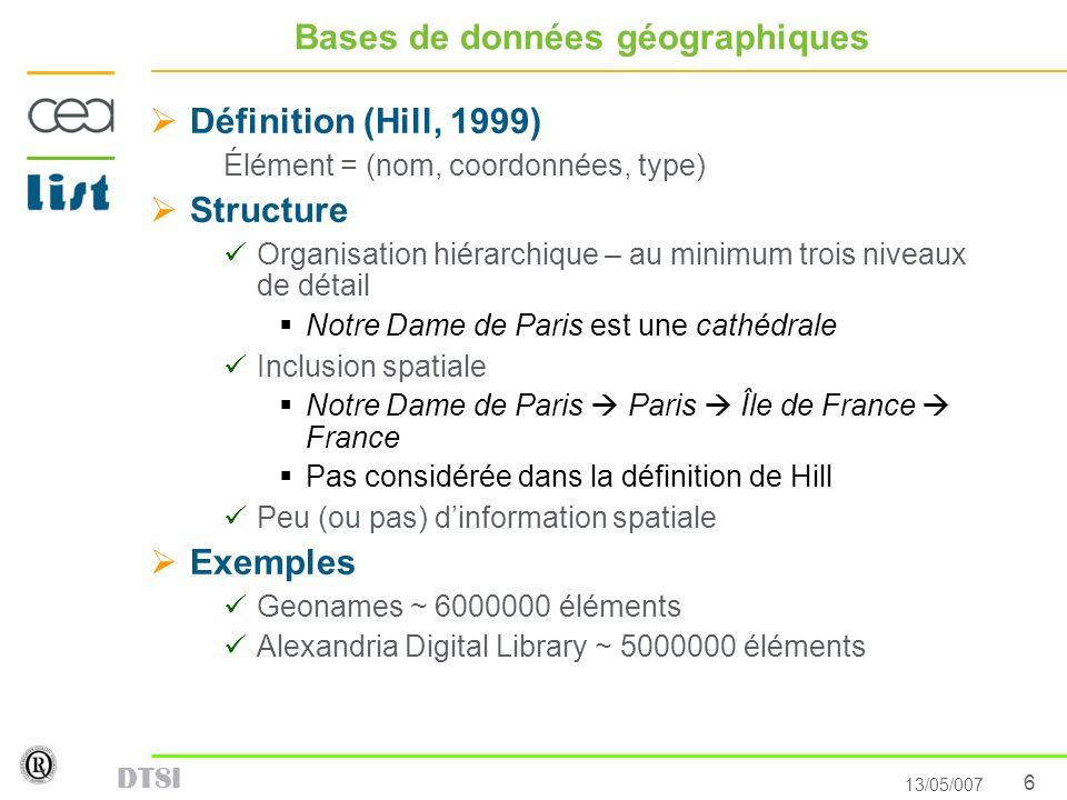 Bases de données géographiques