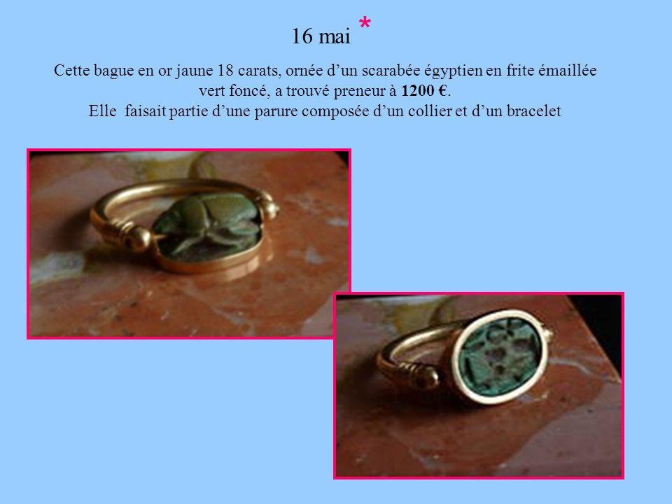 16 mai * Cette bague en or jaune 18 carats, ornée d'un scarabée égyptien en frite émaillée vert foncé, a trouvé preneur à 1200 €.