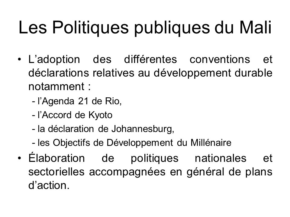 Les Politiques publiques du Mali