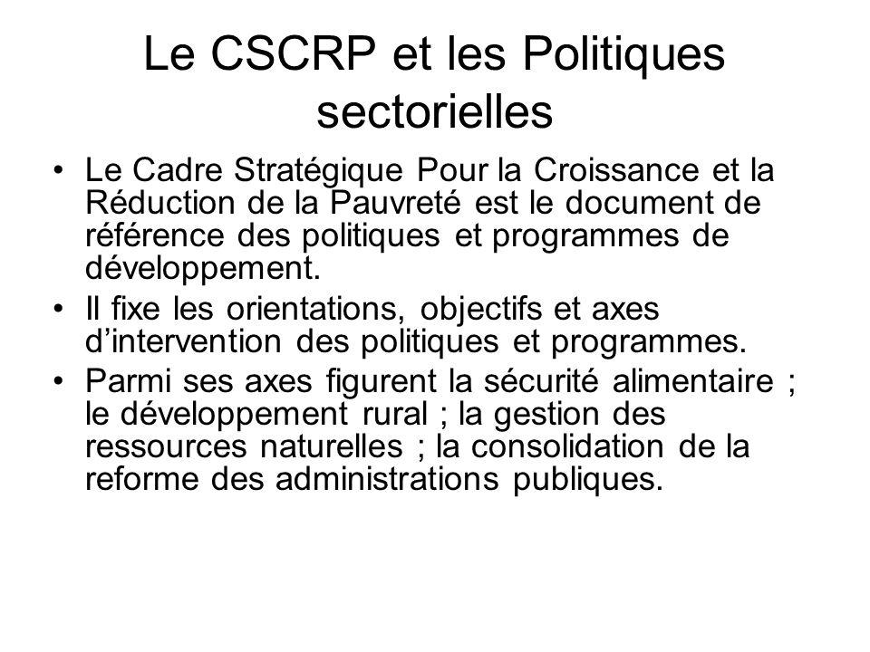 Le CSCRP et les Politiques sectorielles