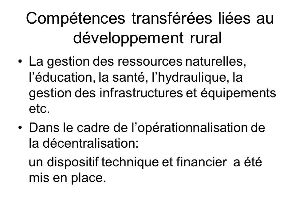 Compétences transférées liées au développement rural