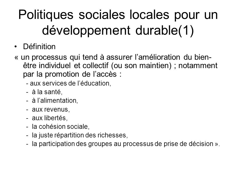 Politiques sociales locales pour un développement durable(1)