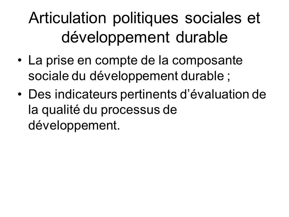 Articulation politiques sociales et développement durable