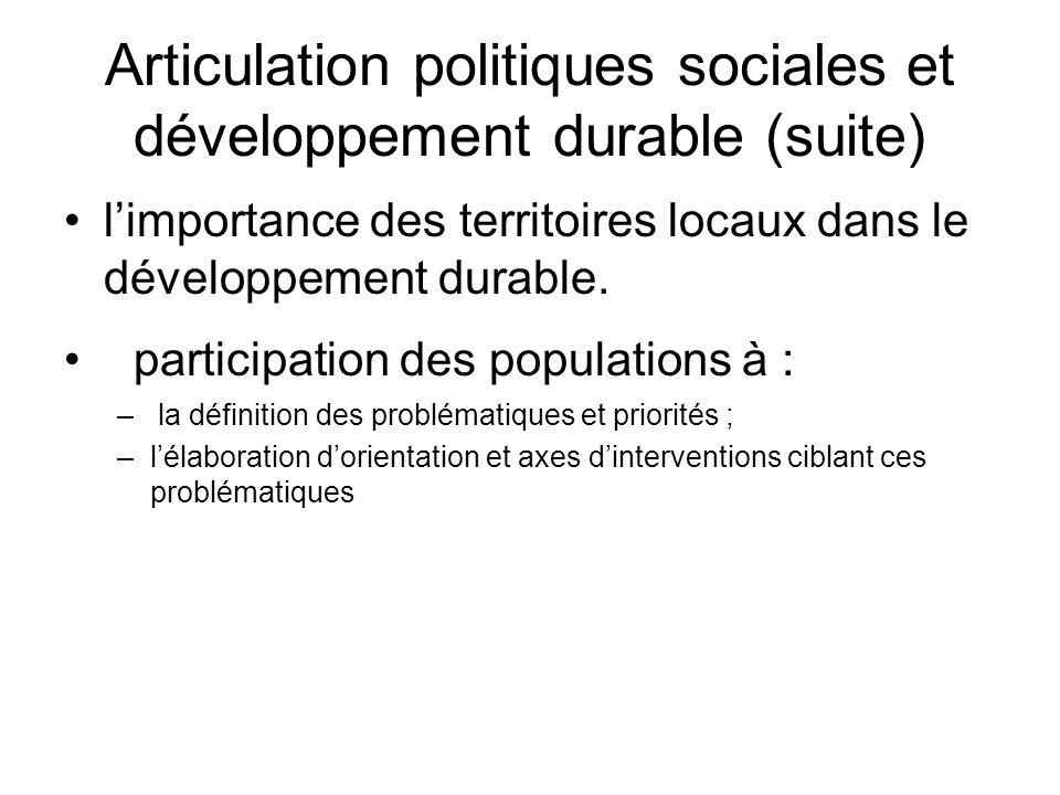 Articulation politiques sociales et développement durable (suite)