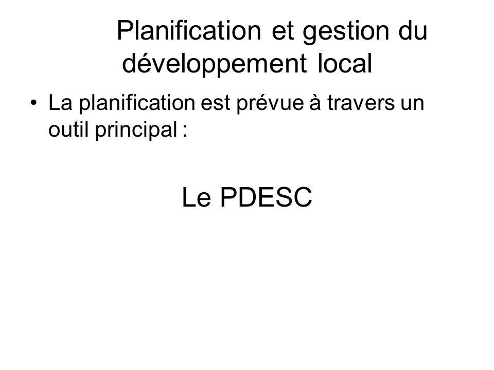 Planification et gestion du développement local