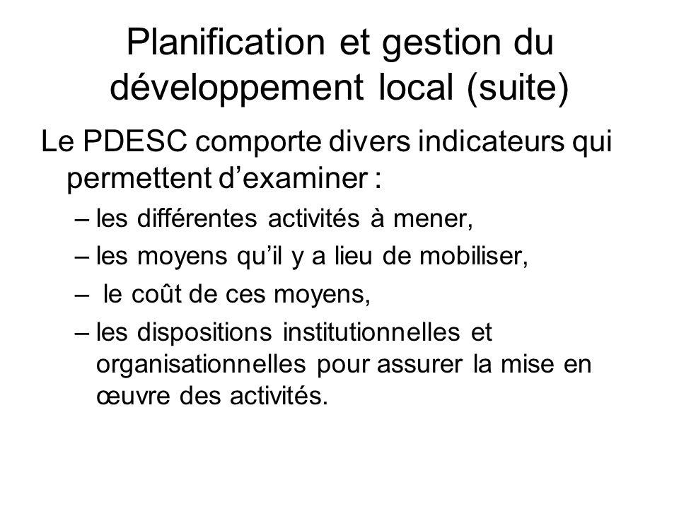 Planification et gestion du développement local (suite)