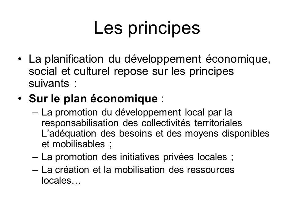 Les principes La planification du développement économique, social et culturel repose sur les principes suivants :