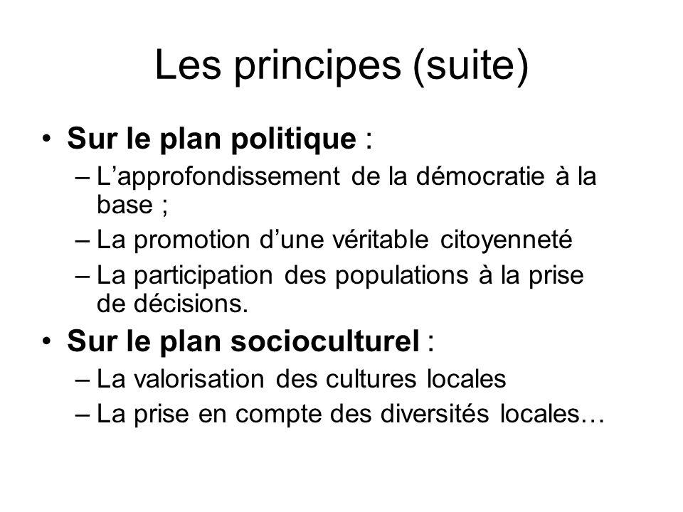 Les principes (suite) Sur le plan politique :