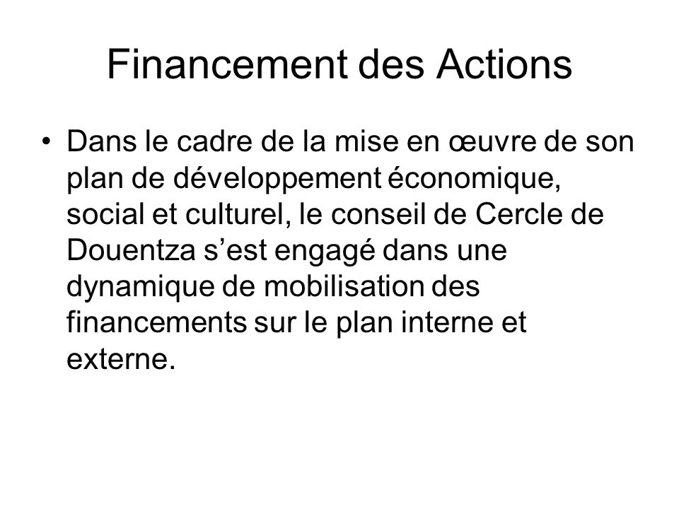 Financement des Actions