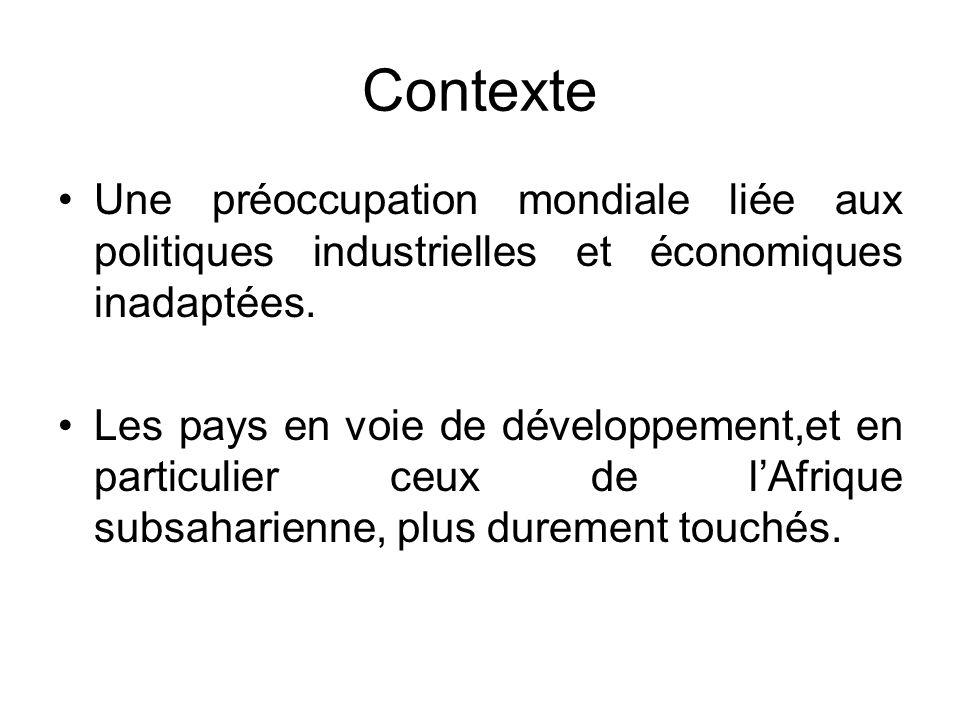 Contexte Une préoccupation mondiale liée aux politiques industrielles et économiques inadaptées.