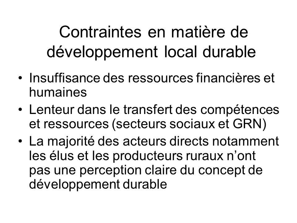 Contraintes en matière de développement local durable