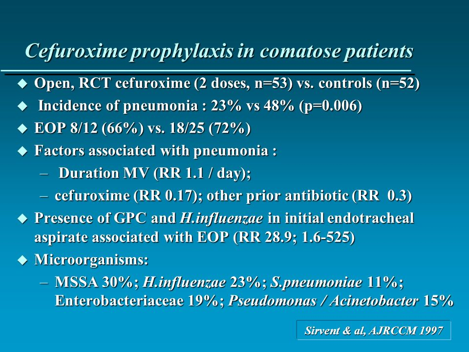 Cefuroxime prophylaxis in comatose patients